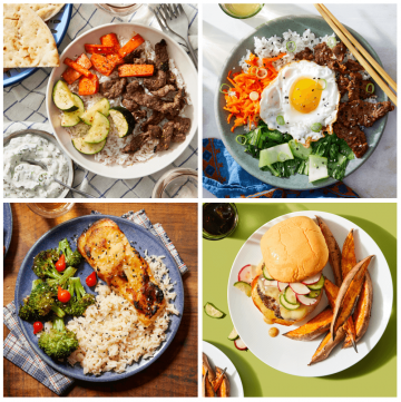 four different meals via blue apron