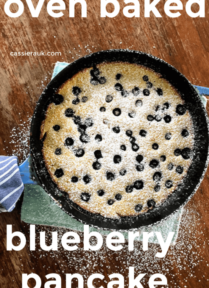 blueberry pancake in cast iron skillet